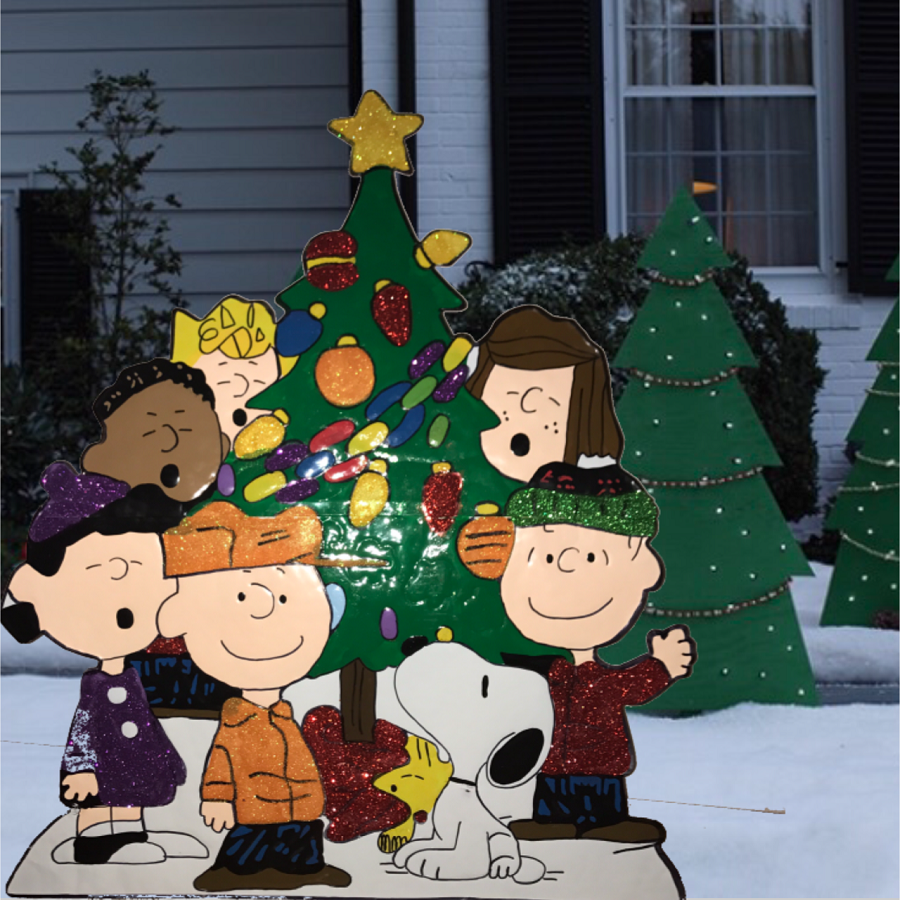 Tis your season peanuts gang around tree yard art for Christmas tree lawn decoration