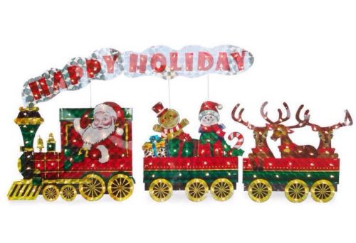light up holographic santa train 3 piece set - Holographic Christmas Decorations