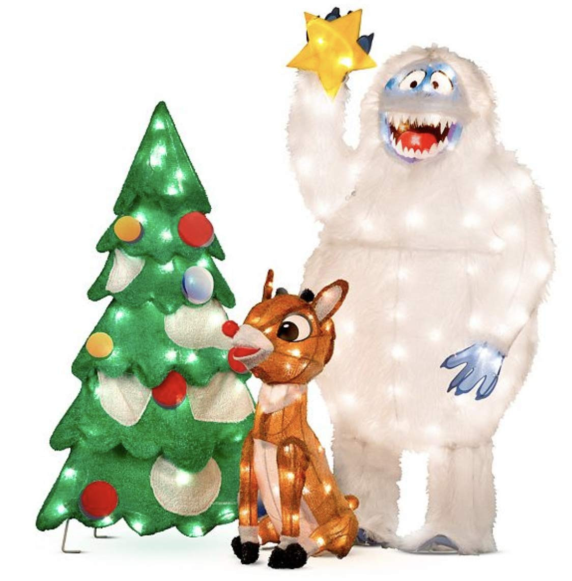 3pc Set Rudolph and Bumble Animated Outdoor Christmas Decorations