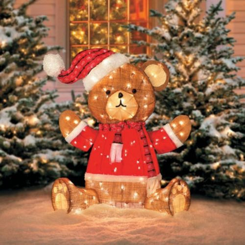 39 pre lit teddy bear burlap country christmas decoration - Burlap Outdoor Christmas Decorations