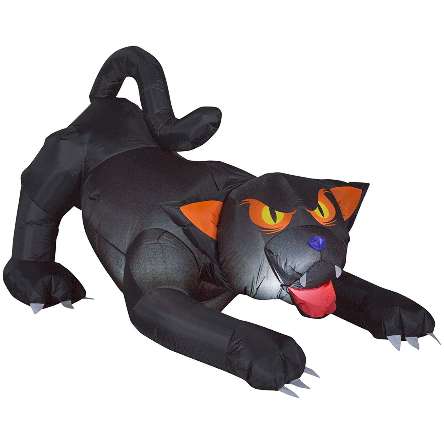 5.5 ft. Inflatable Animated Black Cat with Turning Head