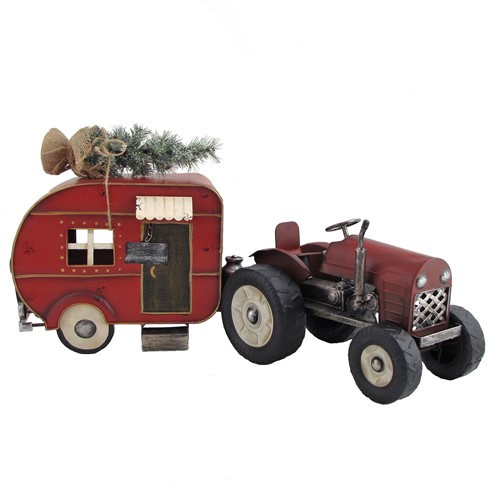 Rustic Red Tractor and Camper with Christmas Tree Iron Set of 2