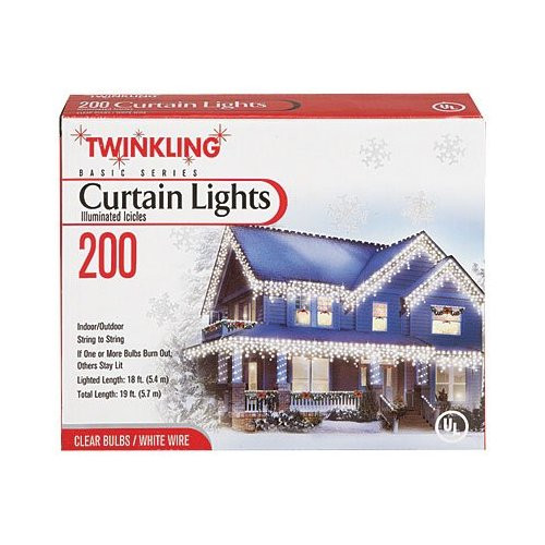 200 Blinking Curtain Lights Icicle Light Set