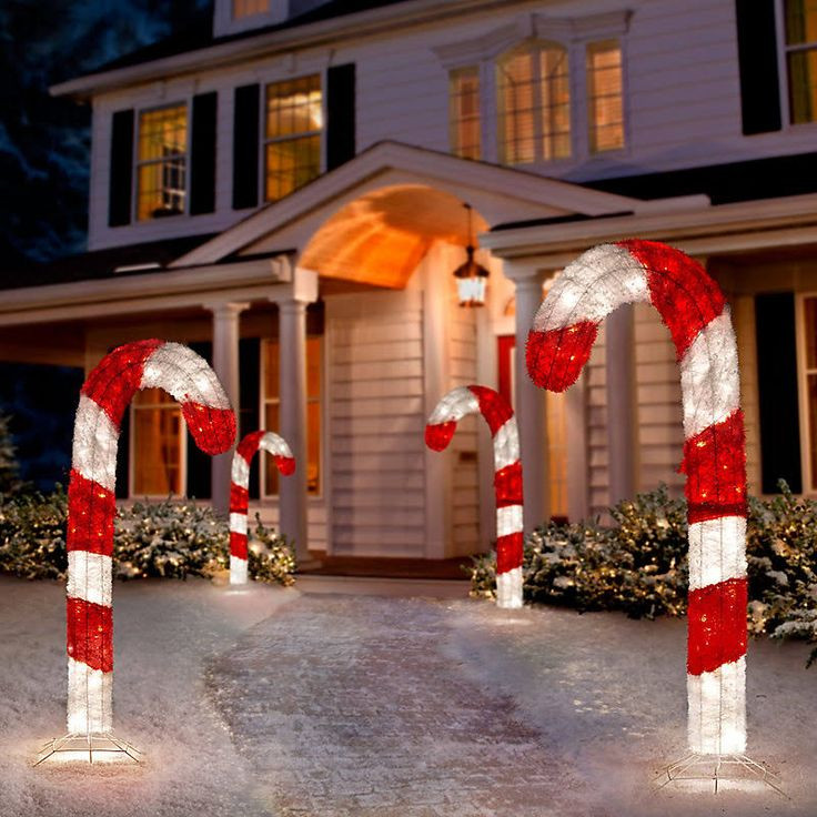 "48"" Lighted 3D Tinsel Candy Cane Outdoor Christmas Decoration"