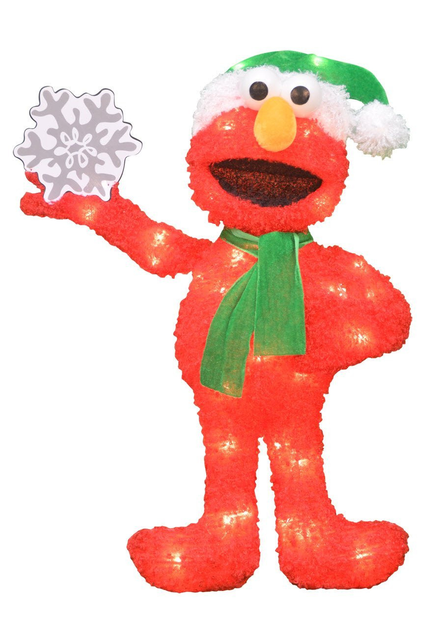 24-Inch Pre-Lit 2-D Elmo with Snowflake Christmas Yard Decoration