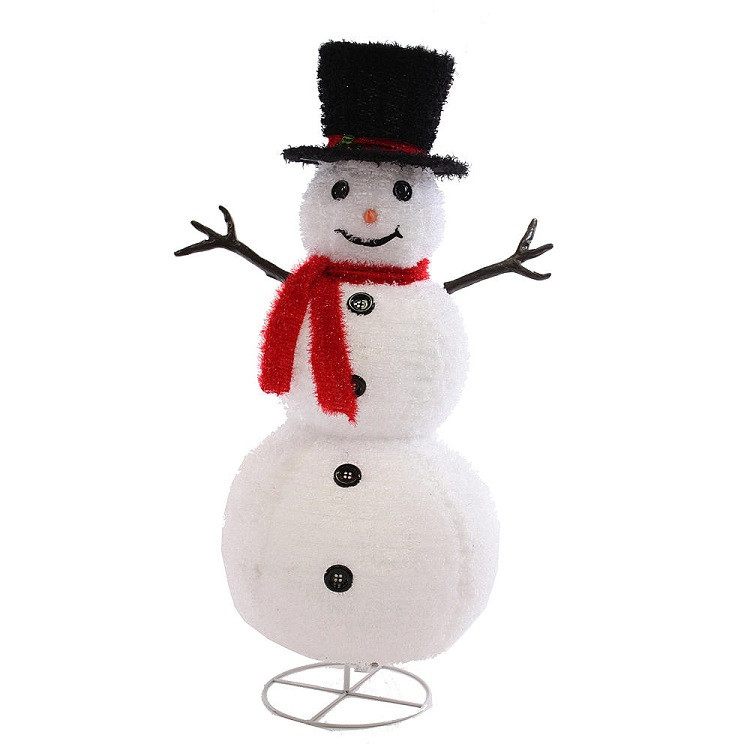 "48"" Fluffy Top Hat Lighted Snowman Sculpture"