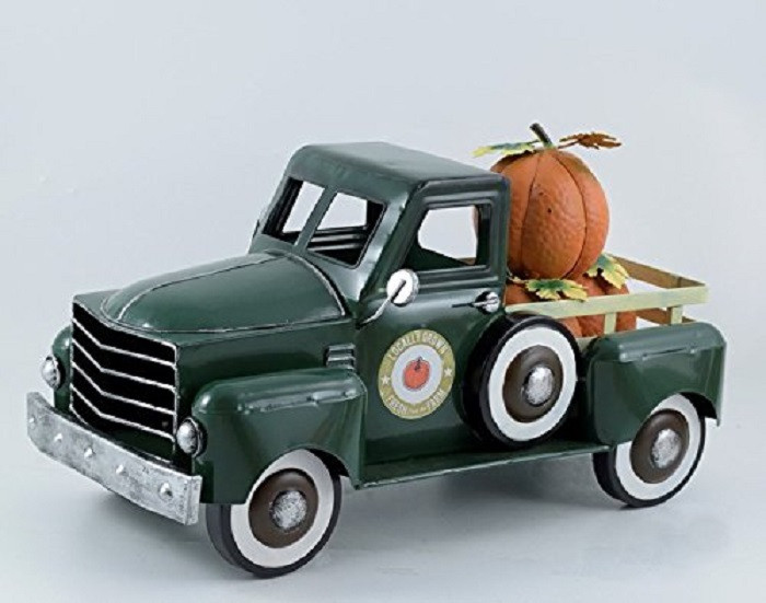 Green Metal Autumn Harvest Truck with Removable Pumpkins