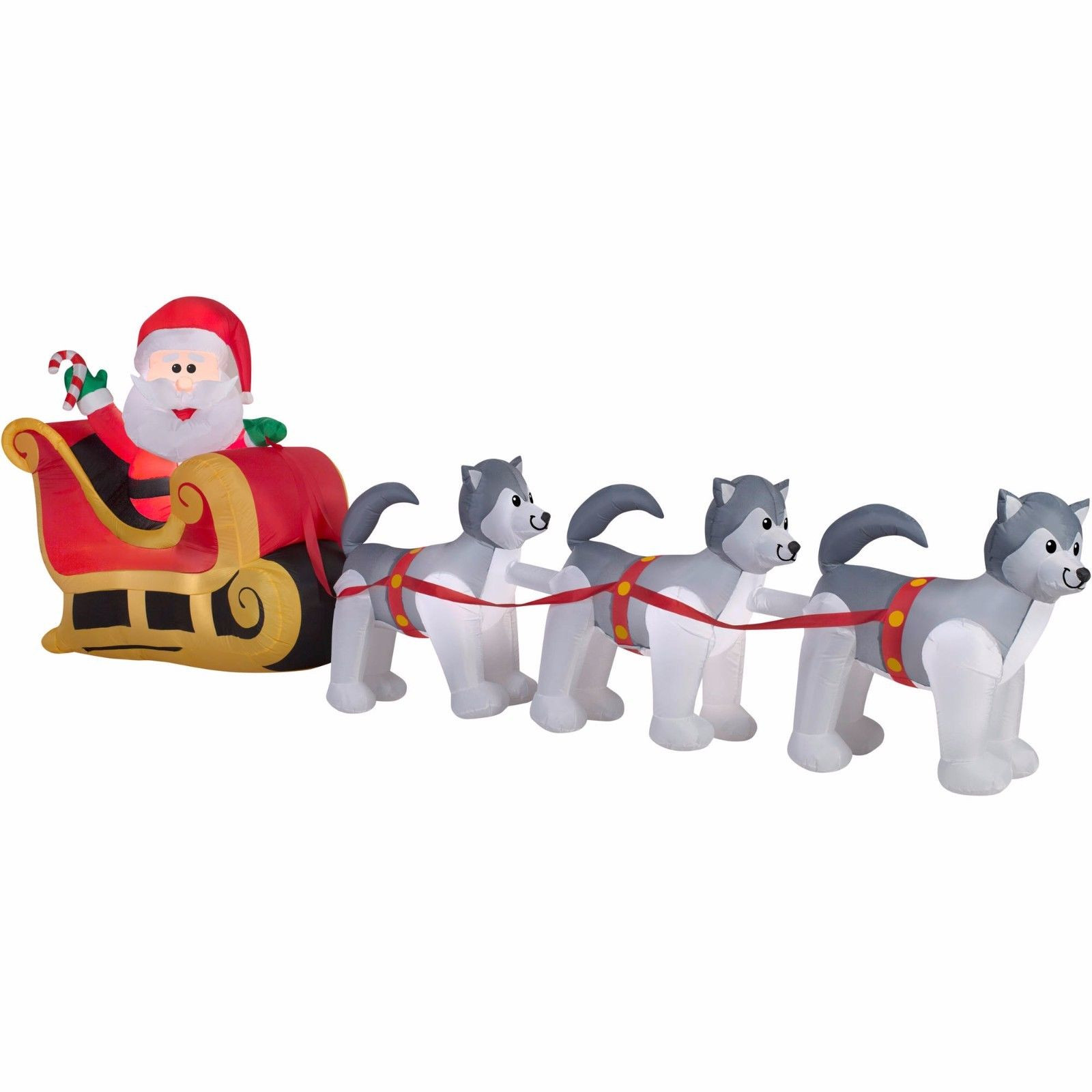 Tis Your Season | 12.5\' Inflatable Santa Huskies Dogsled Scene ...