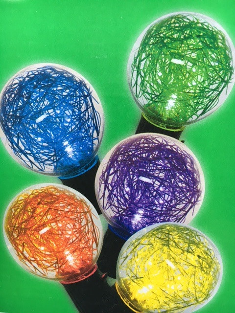 10 LED Multi Color Glass Globe with Tinsel Light Set