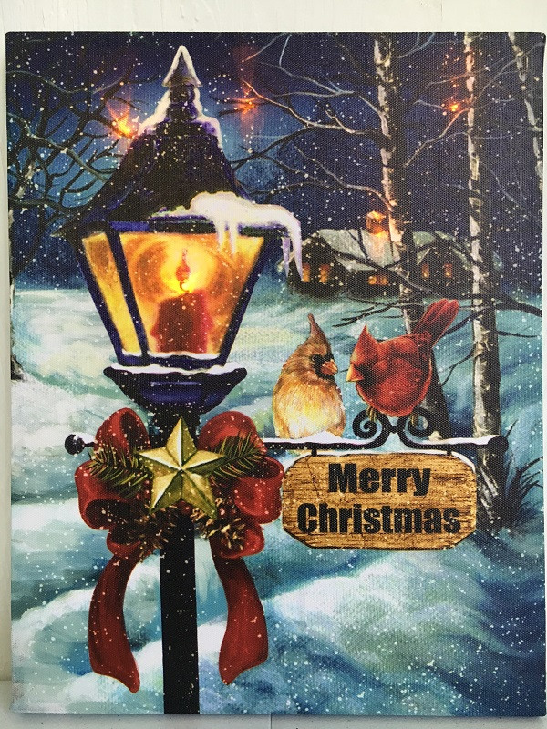 Tis Your Season Lamp Post With Cardinals Picture On