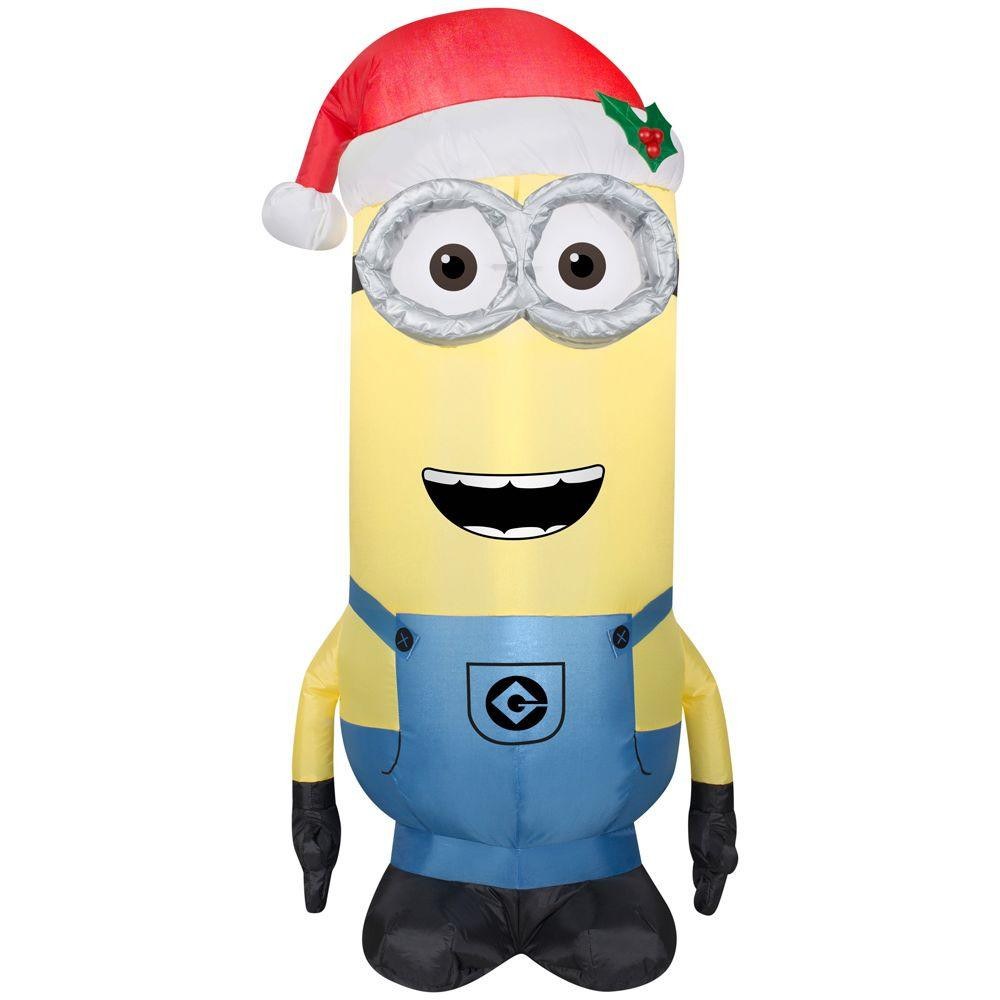 35 kevin minion with santa hat christmas inflatable - Minion Outdoor Christmas Decorations