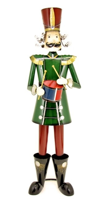 Christmas Drum Decor.Tis Your Season 76 Iron Metal Nutcracker W Drum Toy