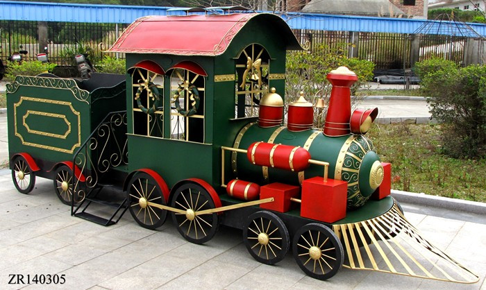 tis your season huge iron christmas train with cart commercial christmas decoration - Christmas Train Decoration