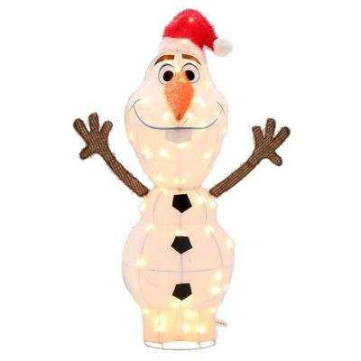 tis your season 42 tinsel olaf in santa hat lighted outdoor christmas decoration disney - Olaf Outdoor Christmas Decoration