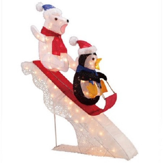 "48"" Polar Bear And Penguin Sledding"