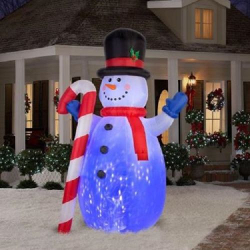 10' Projection Kaleidoscope Snowman Inflatable Airblown Christmas Decoration