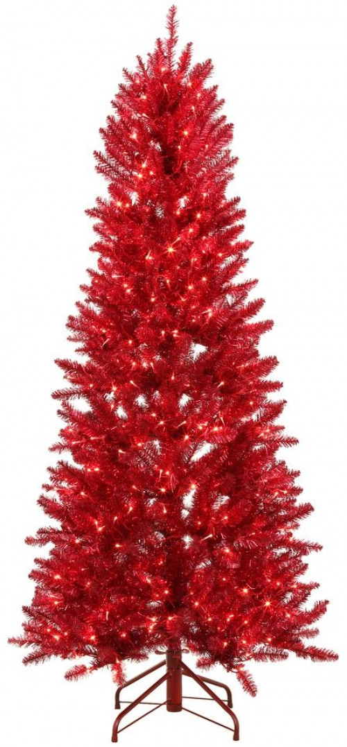 6 ft. Pre-Lit Shiny Red Fraser Christmas Tree w Warm White & Red Color-Changing LED Lights
