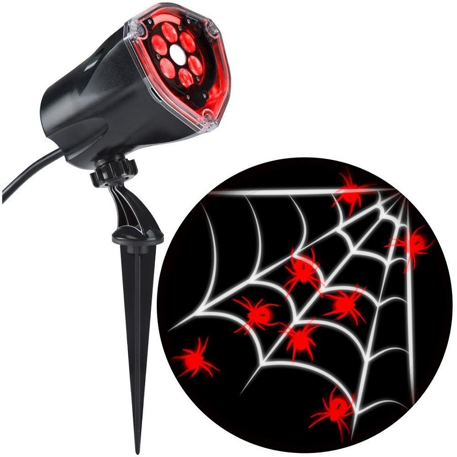 Red Spider w White Web Strobe Whirl-A-Motion Projection Spotlight