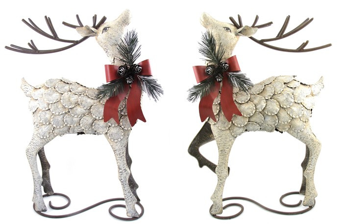 "Rustic 32"" Metal Reindeer Christmas Decoration Set of 2"