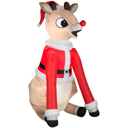 5.5' Rudolph in Santa Suit Christmas Inflatable