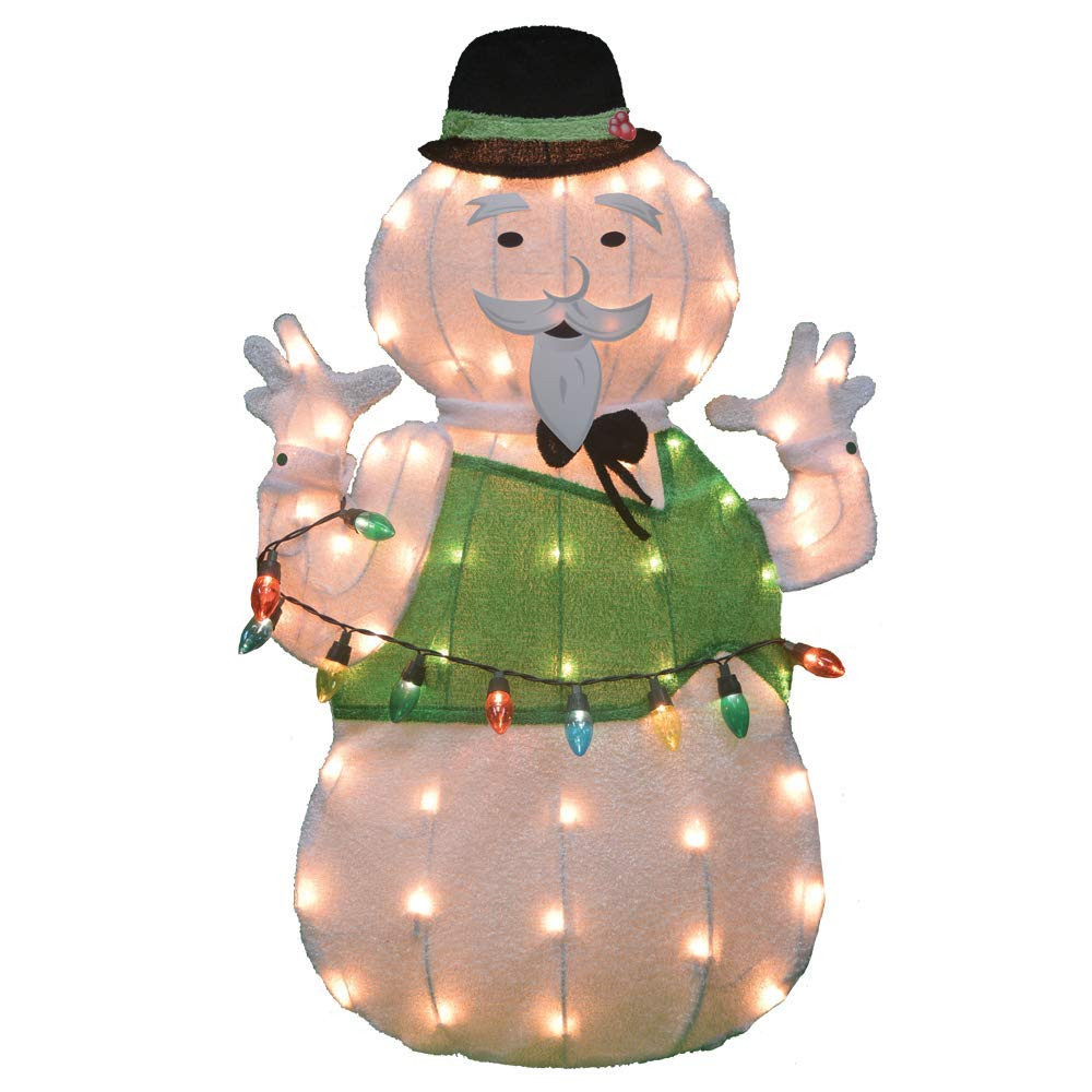 "Sam the Snowman 32"" 2-D Tinsel Outdoor Christmas Decoration"