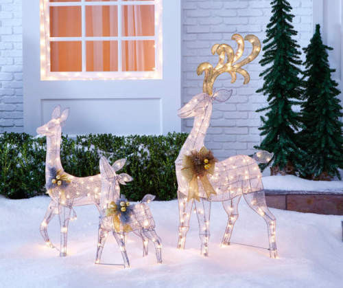 Light-Up Silver Deer, 3 Piece Outdoor