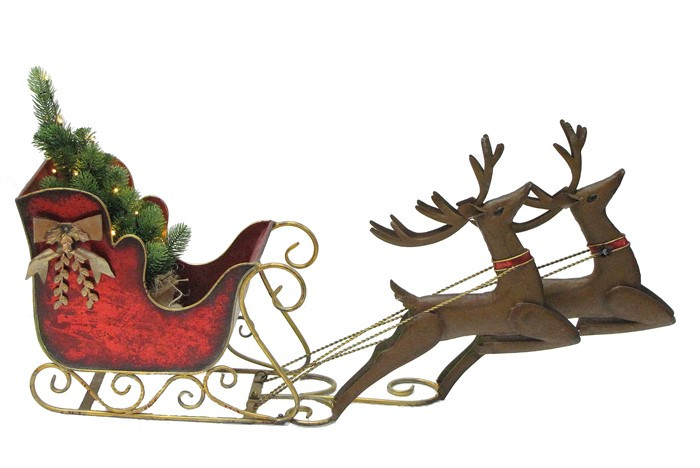 Large Santa Sleigh and Reindeer with LED Christmas Tree