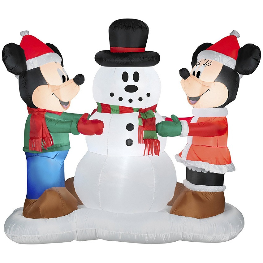 Tis Your Season | Disney Mickey & Minnie Making Snowman Airblown Inflatable Outdoor Christmas Decoration