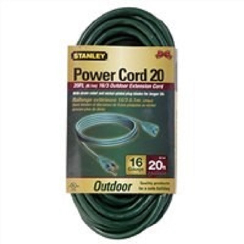 Stanley Grounded Outdoor Extension Power Cord, 20-Feet, Green