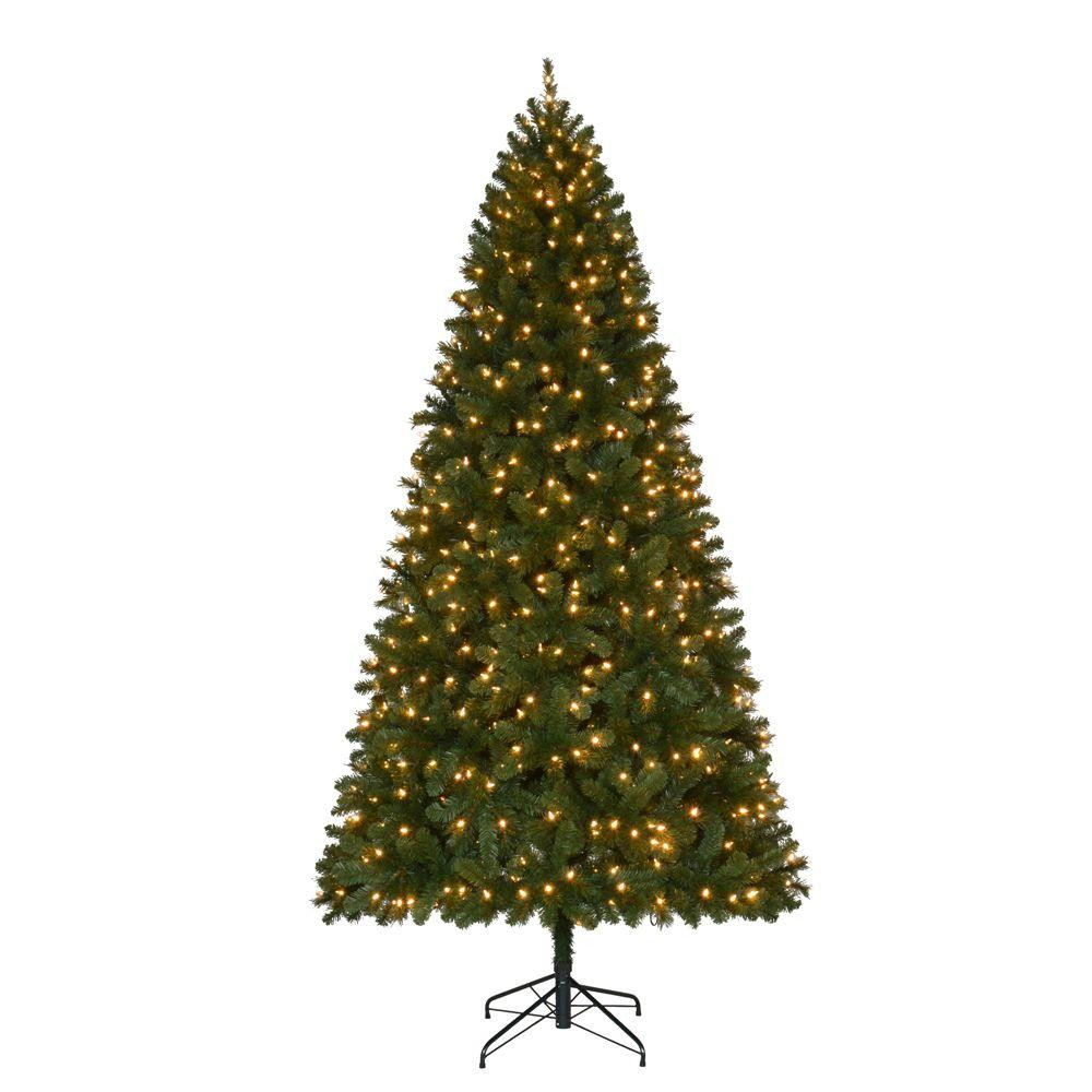 9 ft. Pre-Lit LED Wesley Spruce Quick-Set Artificial Christmas Tree with Warm White Lights