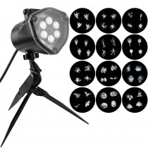 LED White Whirl-A-Motion Strobe Light Stake with 12-Changeable Halloween Slides