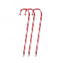 "28"" Lighted Candy Cane Outdoor Christmas Lawn Stakes Set of 3"