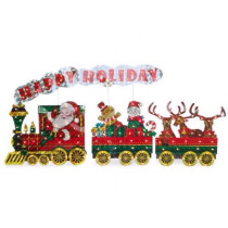 Light-Up Holographic Santa Train, 3-Piece Set