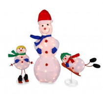 3 Pc Tinsel Snowman Family Lighted Outdoor Christmas Decoration