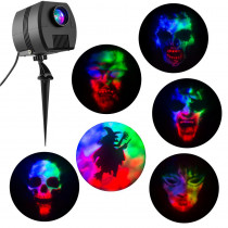 Multi-Color LED Fire and Ice Specter Projector Stake with Sound and 6-Changeable Slides