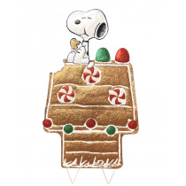 Snoopy Gingerbread House Hammered Metal Christmas Decor