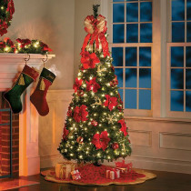 6.5 Foot Pre-lit Decorated Poinsetta Pop Up Christmas Tree