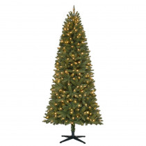 7 ft. Pre-Lit LED Benjamin Fir Quick-Set Artificial Christmas Tree with Warm White Lights