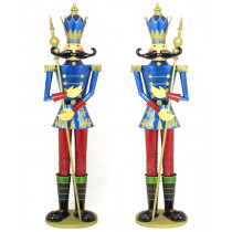 Life-Size Pair of 6' Iron Nutcracker Christmas Holiday Toy Soldiers in Blue