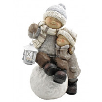 Boy & Girl Playing in Snow Christmas Figurine Tushkas