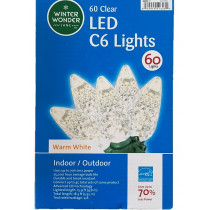 60 Clear LED C6 Lights Warm White