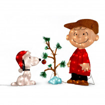 Charlie Brown, Snoopy & The Lonely Tree Lighted 3pc Set