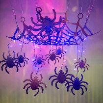 Spider Web Chandelier Halloween Decoration w Purple Lights