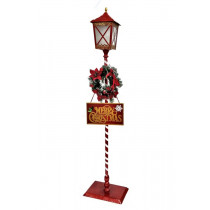 Standing Merry Christmas Lamppost Lantern with Wreath & LED Light Set of 2