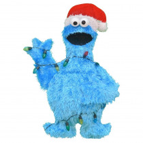 32-Inch Pre-Lit 2D Cookie Monster with String of Lights Christmas Yard Decor