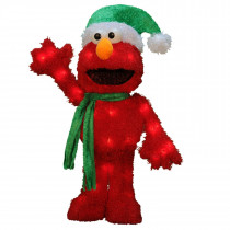 18-Inch 3D Pre-Lit Waving Elmo Christmas Yard Decoration