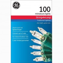 GE 100 String-A-Long Clear Mini Light Set with Green Wire