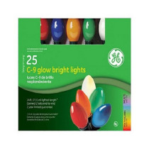 GE 25 Count Multi String A Long C9 Glow Bright Ceramic Light Set