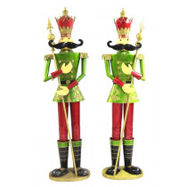 Life-Size Pair of 6' Iron Nutcracker Christmas Holiday Toy Soldiers in Green