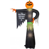 12' Pumpkin Reaper Pointing w Halloween Sign Airblown Inflatable